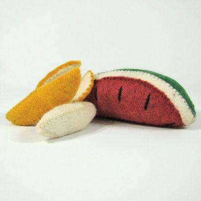 Fruits en laine feutrée - Banane et pastèque - Papoose Toys  - 5