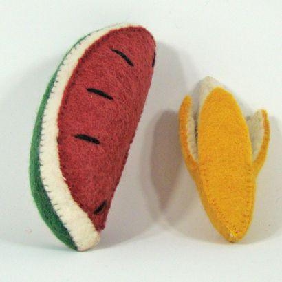 Fruits en laine feutrée - Banane et pastèque - Papoose Toys  - 6