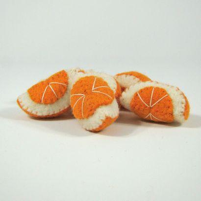 Fruits en laine feutrée - 6 quartiers d'orange - Papoose Toys  - 4