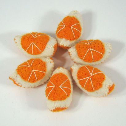 Fruits en laine feutrée - 6 quartiers d'orange - Papoose Toys  - 6