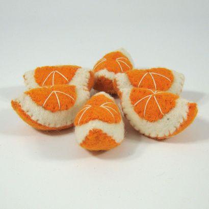 Fruits en laine feutrée - 6 quartiers d'orange - Papoose Toys  - 7