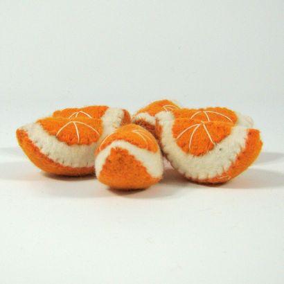 Fruits en laine feutrée - 6 quartiers d'orange - Papoose Toys  - 8