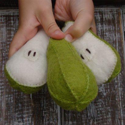 Fruits en laine feutrée - 3 poires - Papoose Toys  - 5