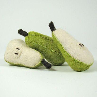 Fruits en laine feutrée - 3 poires - Papoose Toys  - 6