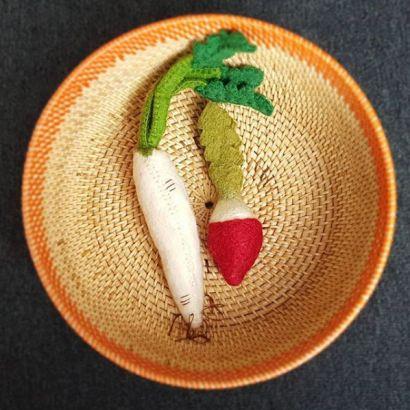 Légumes en laine feutrée - 2 radis - Papoose Toys  - 2