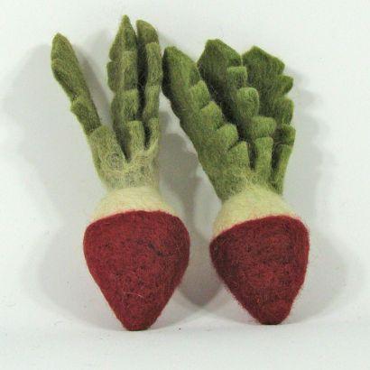 Légumes en laine feutrée - 2 radis - Papoose Toys  - 3