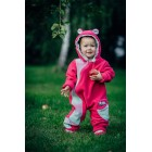 Combinaison bébé polaire - Pink with Little Herringbone Impression - Lennylamb