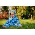Combinaison bébé polaire - Turquoise with Little Herringbone Impression - Lennylamb
