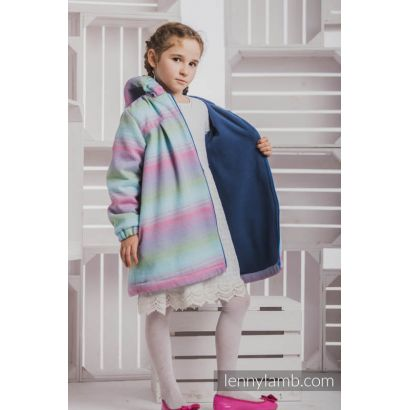 Manteau Fille - Little Herringbone Impression with Blue - Coton et polaire - 4