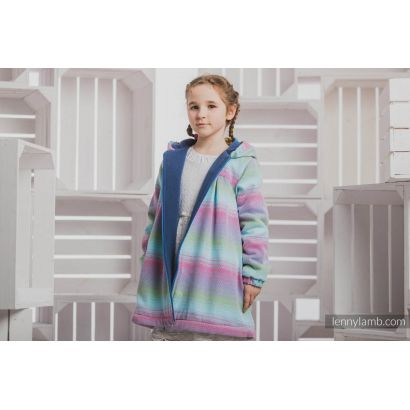 Manteau Fille - Little Herringbone Impression with Blue - Coton et polaire - 7