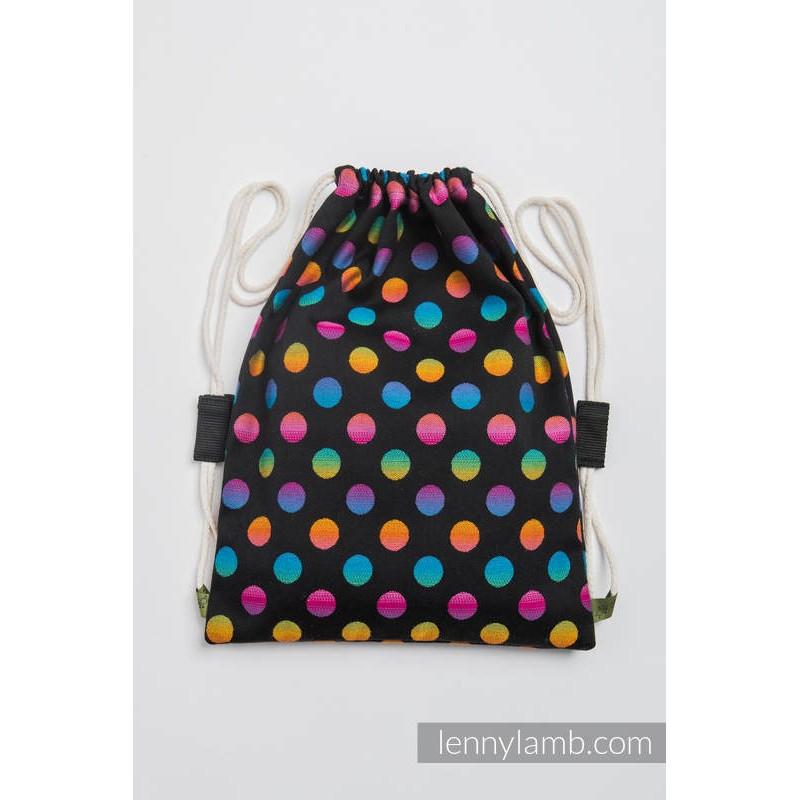 Sac en tissu d'écharpe Lennylamb - Polka Dots Rainbow Dark - 100% coton - 35cm x 45cm