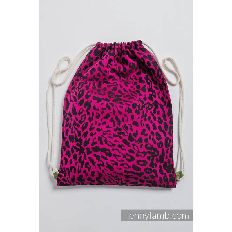 Sac en tissu d'écharpe Lennylamb - Cheetah Black & Pink - 100% coton - 35cm x 45cm