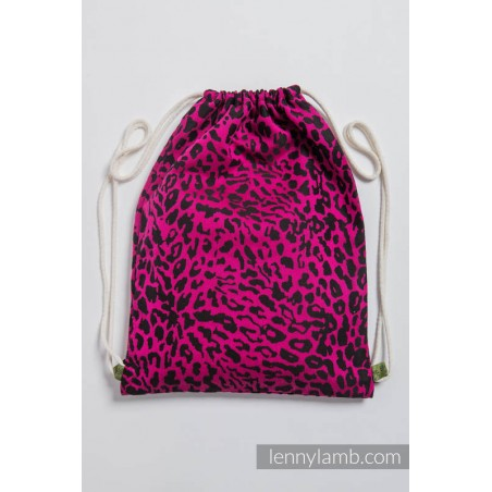 Sac à lanières Lennylamb - Cheetah Black & Pink - 100% coton - 35cm x 45cm