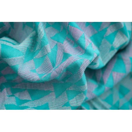 Sling Yaro - Delta Aqua-Green Rose-White Soft Linen - 60% coton/40% lin