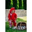 Combinaison bébé polaire - Red with Little Herringbone Elegance - Lennylamb