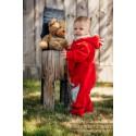 Combinaison bébé polaire - Red with Little Herringbone Impression - Lennylamb